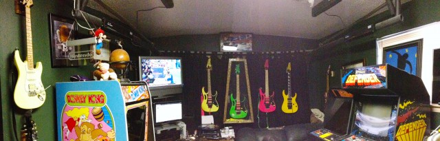 Dave's game-and-guitar room.