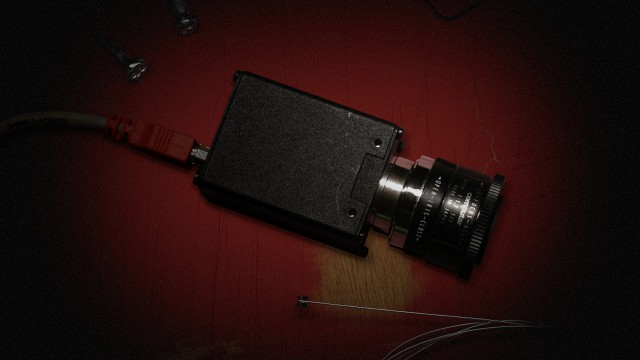 PIXEL PUSHER:  The original ShredCam, based on the Basler a602fc high-speed industrial camera.