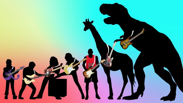 STRATOSAURUS REX: Even a 20-foot theropod would be stuck with a standard-sized guitar.