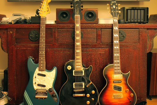 A STUDY IN CONTOURS: The stretch of the Mustang, the squash of the Nighthawk, and the general rotundity of the Les Paul.